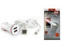 Автомобильное зарядное устройство Earldom ES-159I+кабель IPhone5 12/24В 2хUSB, Выходной ток: 2, 4 A коробка белый