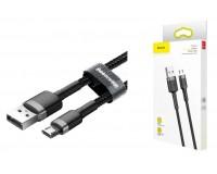 Кабель microUSB Baseus длина 1м, USB2.0, 2, 4А, коробка, черный (Cafule)