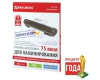 Пленка-заготовка для ламинирования BRAUBERG 531792 АНТИСТАТИК, комплект: 100 шт., толщина: 150 (75х2) мкм., размер А4 (216х303 мм)., глянцевая