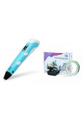 3D ручка Помощник PM-TYP01 1.75-миллиметровый ABS/PLA керамический носик 0, 7 мм, LCD дисплей, голубой