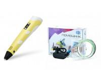 3D ручка Помощник PM-TYP01 1.75-миллиметровый ABS/PLA керамический носик 0, 7 мм, LCD дисплей, желтый