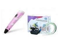 3D ручка Помощник PM-TYP01 1.75-миллиметровый ABS/PLA керамический носик 0, 7 мм, LCD дисплей, розовый