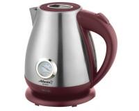 Чайник Atlanta ATH-2438 1800Вт. 1, 7л. металл, дисковый термометр воды, автоотключение Bordo