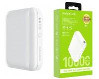 Портативное зарядное устройство Borofone BJ1 Olymp 10000 мАч Выходной ток:USB1-2A; входной ток: 2А, пластик, белый