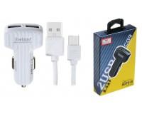 Автомобильное зарядное устройство Earldom ES-130C+кабель Type-C 12/24В 2хUSB, Выходной ток: 2, 4 A коробка белый