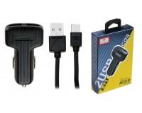 Автомобильное зарядное устройство Earldom ES-130C+кабель Type-C 12/24В 2хUSB, Выходной ток: 2, 4 A коробка черный