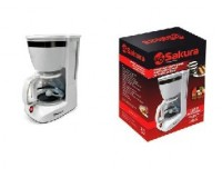 Кофеварка SAKURA SA-6109W 800 Вт, 1, 25л, подогрев кувшина, защита от капель, фильтр