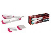 Электрощипцы SAKURA SA-4507P 30Вт 3 в 1 (2 гофры/выпрям.) алюминевые насадки, розовый