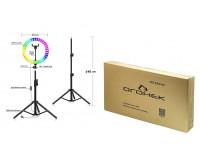 Лампа настольная Огонек OG-SMH07 120+48 RGB светодиодов, 4 режима температуры цвета, держатель для смартфона 145 см