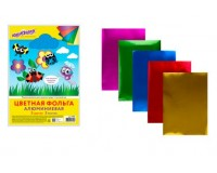 Бумага цветная ЮНЛАНДИЯ 111959 количество цветов в наборе: 5, количество листов: 5, размер А4 210х297 мм, алюминиевая фольга на бумажной основе , пакет