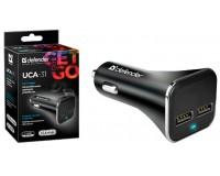 Автомобильное зарядное устройство Defender UCA-31 12/24В 2хUSB, Выходной ток: USB1-1A, USB2-2, 1A, коробка (83597), черное