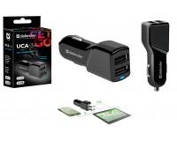 Автомобильное зарядное устройство Defender UCA-34 12/24В 2хUSB, Выходной ток: USB1-1A, USB2-2, 4A, защита от короткого замыкания, LED индикатор, коробка (83834), черное