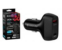 Автомобильное зарядное устройство Defender UCA-90 12/24В 36W 2хUSB (QC3.0, Type-C/PD3.0) , Выходной ток: USB1-3A, TYPE-C-3A, быстрая зарядка QC3.0 и Power Delivery (PD), коробка (83836), черное