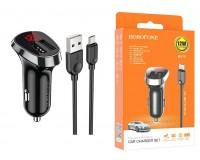 Автомобильное зарядное устройство Borofone BZ15 Auspicious + кабель MicroUSB 12/24В 2хUSB, Выходной ток: USB1-2, 4A, USB2-2, 4A, общий выходной ток 2, 4А LED дисплей с отображением бортового напряжения автомобиля, коробка черное