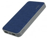 Портативное зарядное устройство GOLF G31 10000 мАч 1USB выход 5В/1А, 2USB выход 5В/2.1А, + кабель MicroUSB , голубой