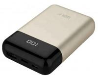 Портативное зарядное устройство GOLF G51 10000 мАч 1USB выход 5В/1А, 2USB выход 5B/2.1A, 8 LED дисплей/In Micro usb, Type-C/Out Type-C, золото