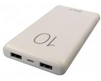 Портативное зарядное устройство GOLF G80 10000 мАч 1USB выход 5В/1А, 2USB выход 5В/2.1А, + кабель Micro usb , белый