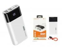 Портативное зарядное устройство Borofone DBT01 40000 мАч 4USB выхода 5В/3А, LED дисплей/ PD + QC/ Type-C , 18 W, белый
