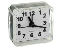 Часы будильник Perfeo PF-C3086 /PF-TC-001 Quartz квадрат, корпус пластиковый, размер:55х55х30 мм, тип механизма: кварцевый, питание: 1хАА, белые