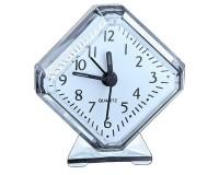 Часы будильник Perfeo PF-C3090 /PF-TC-002 Quartz ромб, корпус пластиковый, размер:75х85х30 мм, тип механизма: кварцевый, питание: 1хАА, белые