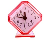 Часы будильник Perfeo PF-C3091 /PF-TC-002 Quartz ромб, корпус пластиковый, размер:75х85х30 мм, тип механизма: кварцевый, питание: 1хАА, красные