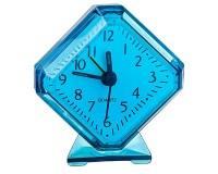 Часы будильник Perfeo PF-C3092 /PF-TC-002 Quartz ромб, корпус пластиковый, размер:75х85х30 мм, тип механизма: кварцевый, питание: 1хАА, синие