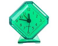 Часы будильник Perfeo PF-C3093 /PF-TC-002 Quartz ромб, корпус пластиковый, размер:75х85х30 мм, тип механизма: кварцевый, питание: 1хАА, зеленые