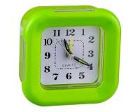 Часы будильник Perfeo PF-C3094 /PF-TC-003 Quartz квадрат, корпус пластиковый, размер:95х95х40 мм, тип механизма: кварцевый, подсветка, питание: 1хАА, зеленые