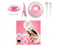 Селфи-лампа «кольцо» на клипсе - PF-B4069 аккумулятор 60 mAh, 28 светодиодов, 3 уровня, USB, розовый