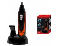 Триммер для удаления лишних волос SAKURA SA-5520A на батарейках, 1хАА, 2 насадки черно-оранжевый