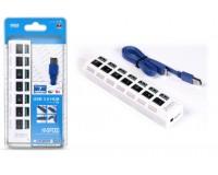 Концентратор USB (HUB) SmartBuy SBHA-7307-W USB 3.0, 7 портов, с выключателями, блистер, White