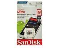 Флэш карта microSDHC 32 GB SanDisk Class 10 UHS-I Ultra Android 100Mb/s без адаптера