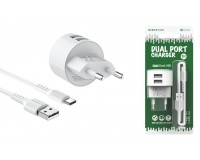 Зарядное устройство Borofone BA23A Brilliant 2400 mA USB 2хUSB, 5 В, выходной ток: USB1-2, 4А, USB2-2, 4A, общий ток 2, 4А белый, кабель Type-C, блистер