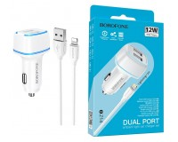 Автомобильное зарядное устройство Borofone BZ14 Max + кабель Iphone5 12/24В 2хUSB, Выходной ток: USB1-2, 4A, USB2-2, 4A, общий выходной ток 2, 4А подсветка, коробка белое