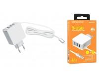 Зарядное устройство Borofone BA42A Joyful + кабель IPhone5 3100 mA USB 3хUSB, 5 В, выходной ток: USB1-2, 4А, USB2-2, 4A, USB3-2, 4A, общий ток 3, 1А белый, коробка