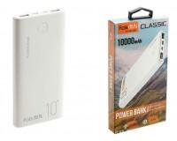 Портативное зарядное устройство FaisON FS-PB-891 10000 мАч Выходной ток:1USB-2100мА , 2USB-2100мА ; входной ток: 2000мА, пластик, белый