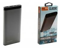 Портативное зарядное устройство FaisON FS-PB-903 10000 мАч Выходной ток:1USB-2100мА , 2USB-2100мА ; входной ток: 2000мА, металл, серый