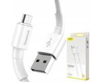 Кабель microUSB Baseus длина 1м, USB2.0, 2, 4А, коробка, белый (Mini White)
