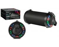 Акустическая система mini MP3 Defender G28 12Вт BT/FM/USB/AUX/RGB Lights питание USB 5 В , Li-Ion 1500 мАч, True Wireless Stereo (TWS), пассивный излучатель, степень защиты от попадания воды IPX5, светодиодная подсветка черный