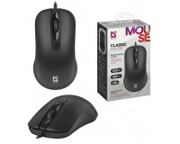 Мышь Defender MB-230 Standard USB Optical (1000 dpi) черная, 2 кнопки+кнопка-колесо, длина кабеля 1, 8 м. коробка