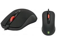 Мышь Defender MB-280 Ultra Classic USB Optical (1000/1200dpi) черная, 3 кнопки+колесо-кнопка, 7 цветов подсветки, покрытие Soft Rubber Skin, длина кабеля 1, 5 м. коробка