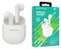 Наушники беспроводные Borofone BE49 Serenity внутриканальные, Bluetooth V5, 0, кейс для хранения и зарядки (300 мАч) в комплекте белый, коробка