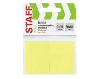 Блок самоклеящийся STAFF 129345 на 90 листов, размер: 38х51мм., стикеры, комплект 2 шт, цвет неоновый желтый
