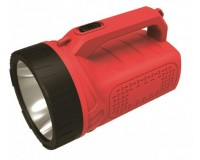 Фонарь-прожектор Спутник AFР953-3W 1х3Вт светодиодиод, аккумулятор 1200mAh 4V красный/чёрный, пластик с каучуковым напылением