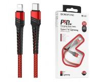 Кабель Type-C Borofone длина 1, 2м, USB2.0, 3 A, коробка, (Type-C-Lightning(IPhone5)) красный (BU21 Dragon)