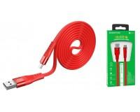 Кабель Type-C Borofone длина 1, 2м, USB2.0, 3, 0А, огнестойкий пищевой силикон, коробка, красный (BU18 Crown)