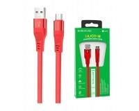 Кабель microUSB Borofone длина 1, 2м, USB2.0, 2.4A, огнестойкий пищевой силикон, коробка, красный (BU18 Crown)