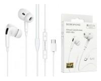 Наушники с микрофоном Borofone BM30 Pro Original - Type-C(кроме Samsung) вкладыши, кабель 1, 2м, коробка, белый