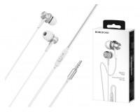Наушники с микрофоном Borofone BM22 Boundless внутриканальные, кабель 1, 2м, 3, 5мм 4-pin Jack, кнопка вызова, металл, коробка, серебро