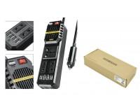 Автоинвертор TDS TS-CAU42 200Вт 12B штекер в прикуриватель, 4 USB, 3 розетки
